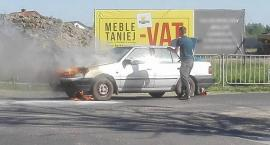 Pożar samochodu w Sulbinach