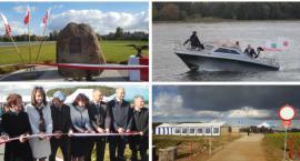 Zaprezentowali zbiornik i przecięli wstęgę przy pamiątkowym kamieniu