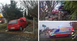 Opel przebił ogrodzenie– Kolizja w gm. Garwolin