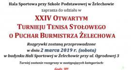 XXIV Otwarty Turniej Tenisa Stołowego o Puchar Burmistrza Żelechowa