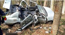 Wypadek – dachował i uderzył w przydrożne drzewa