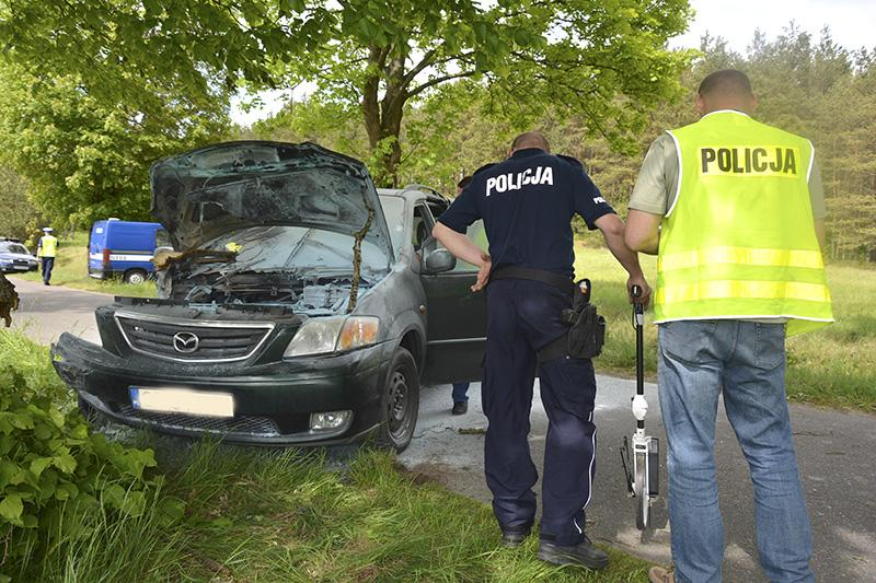 Na drogach, Uderzył drzewo zabrał śmigłowiec - zdjęcie, fotografia