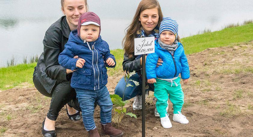 Na bieżąco, pamiątkę narodzin posadzili drzewa - zdjęcie, fotografia