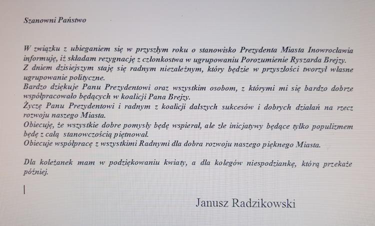 Samorząd, Janusz Radzikowski opuszcza koalicję - zdjęcie, fotografia