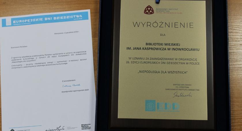 Spotkania, Kolejne wyróżnienie inowrocławskiej Biblioteki - zdjęcie, fotografia