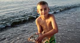 Z wędką na plaży