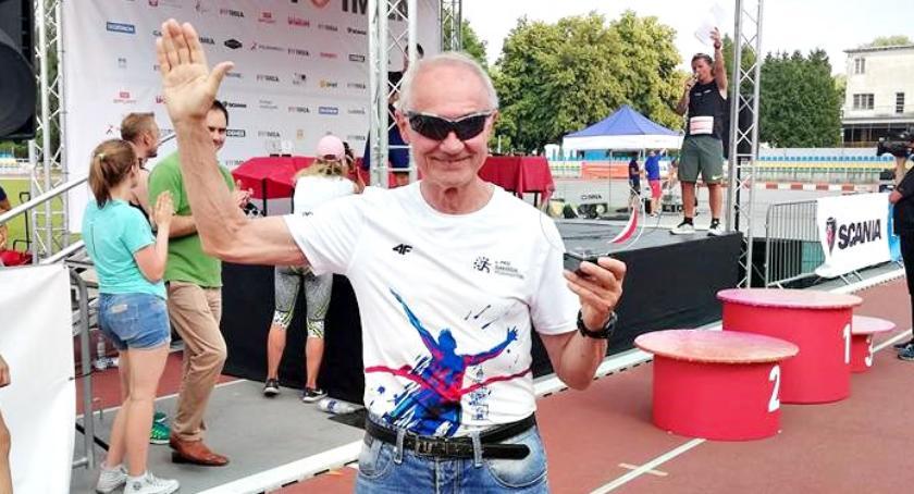 na trasach biegowych, Brąz Jerzego Michalaka miejsca podium biegu Kusocińskiego - zdjęcie, fotografia