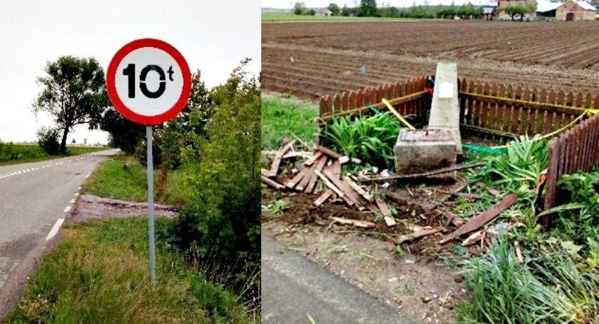 interwencje, Ciężarówka rozwaliła figurkę Potyrach ograniczenie tonażu - zdjęcie, fotografia