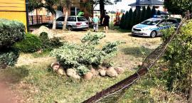 Pękła opona, na szczęście skończyło się tylko staranowaniem ogrodzenia
