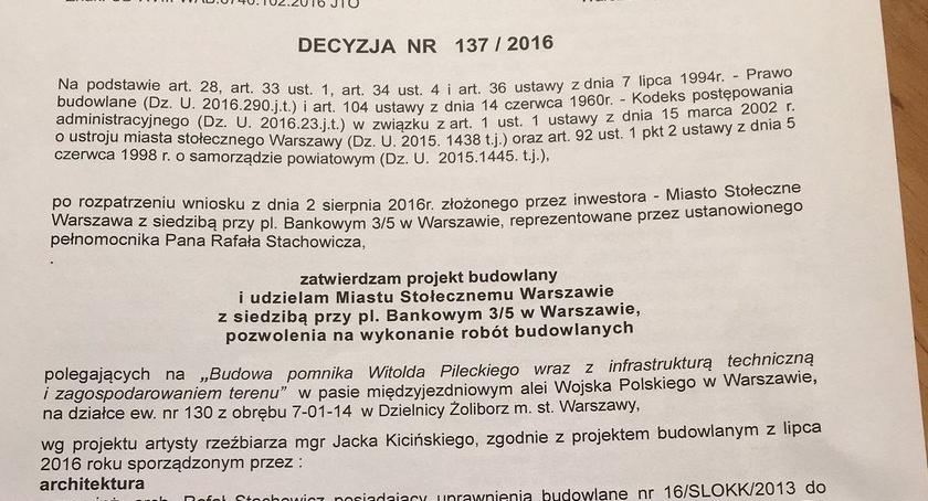 pomniki i ekspozycje, Będzie pomnik Witolda Pileckiego - zdjęcie, fotografia