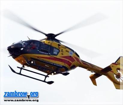 policja, latek wjechał drzewo Śmigłowiec przetransportował szpitala - zdjęcie, fotografia