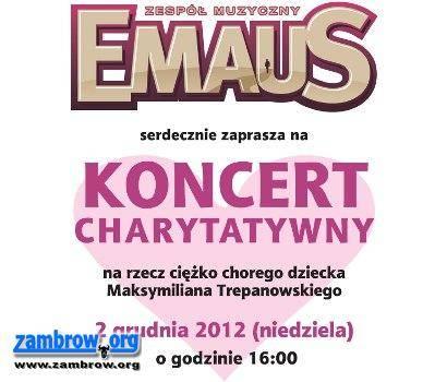 społeczeństwo, Koncert charytatywny zespołu EMAUS Centrum Kultury Maksia Zapraszamy - zdjęcie, fotografia