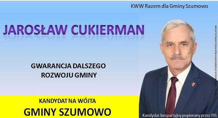 materiał wyborczy, Podziękowanie kandydata Wójta Gminy Szumowo Jarosława Cukiermana - zdjęcie, fotografia