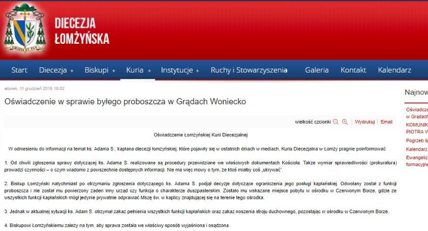 interwencje, Kuria łomżyńska zabrała głos księdza Adama - zdjęcie, fotografia