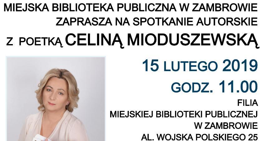 wernisaże spotkania, Biblioteka zaprasza spotkanie poetką Celiną Mioduszewską - zdjęcie, fotografia