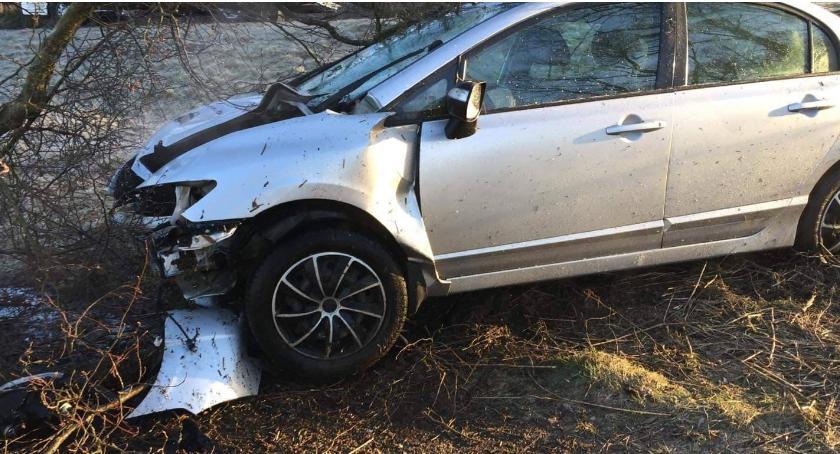 wypadki drogowe , Hondą wjechał ściął drzewo [foto] - zdjęcie, fotografia