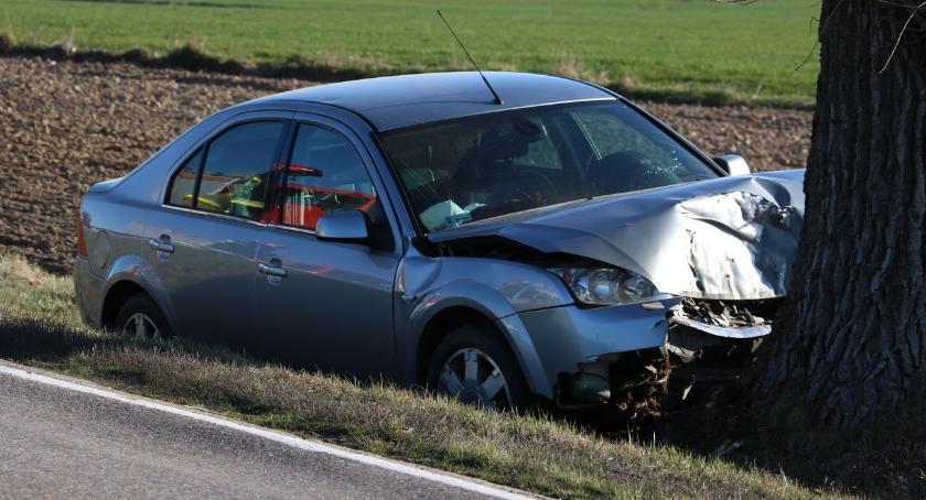 wypadki drogowe , Osobówka uderzyła drzewo Kierowca szpitalu [foto] AKTUALIZACJA - zdjęcie, fotografia