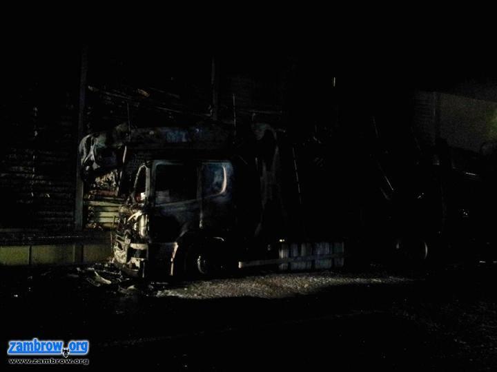 straż, Pożar sześciu pojazdów [foto] - zdjęcie, fotografia
