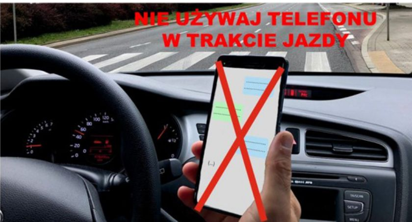 policja, Używasz telefonu podczas jazdy Uważaj! - zdjęcie, fotografia