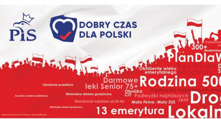 materiał wyborczy, Kandydaci Prawa Sprawiedliwości Andrzej Mioduszewski Marek Komorowski zapraszają konwencję wyborczą - zdjęcie, fotografia
