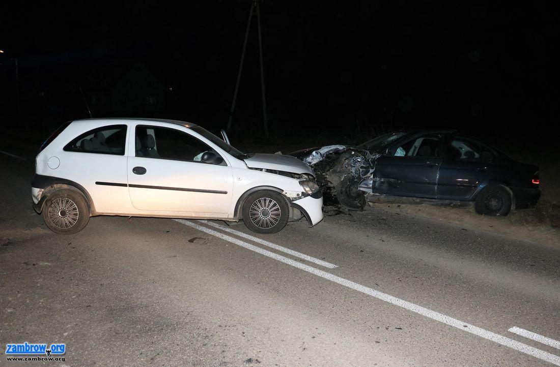 wypadki drogowe , Zderzenie dwóch osobówek drodze Zambrów – Cieciorki [foto] - zdjęcie, fotografia