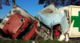 Czołowe zderzenie dwóch ciężarówek. Trzy osoby w szpitalu [foto]