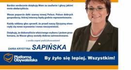 Daria Krystyna Sapińska dziękuje wyborcom