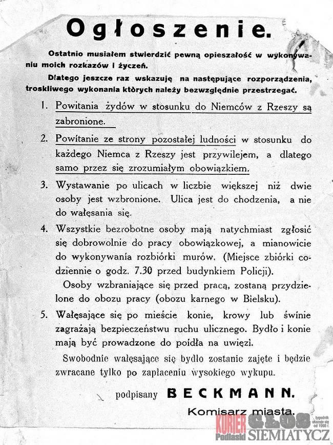 Notatnik historyczny, Rocznica likwidacji getta Siemiatyczach - zdjęcie, fotografia