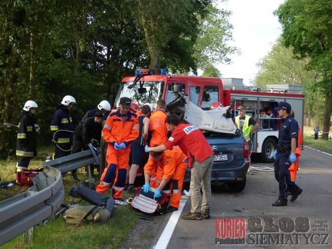 Wypadki drogowe, Wypadek koło Andryjanek osób rannych - zdjęcie, fotografia