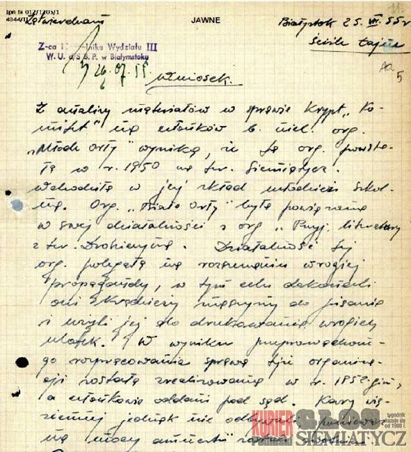 Notatnik historyczny, Siemiatycka młodzież przeciw stalinizmowi - zdjęcie, fotografia