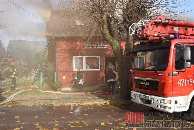 Pożary - straż, Siemiatycze Pożar Zaszkolnej - zdjęcie, fotografia