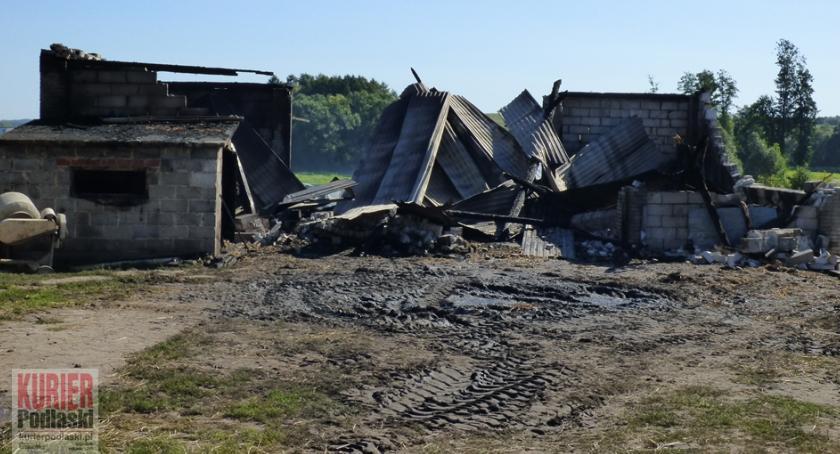 Pożary - straż, Spłonęły tegoroczne zbiory pożar Sarnakach - zdjęcie, fotografia