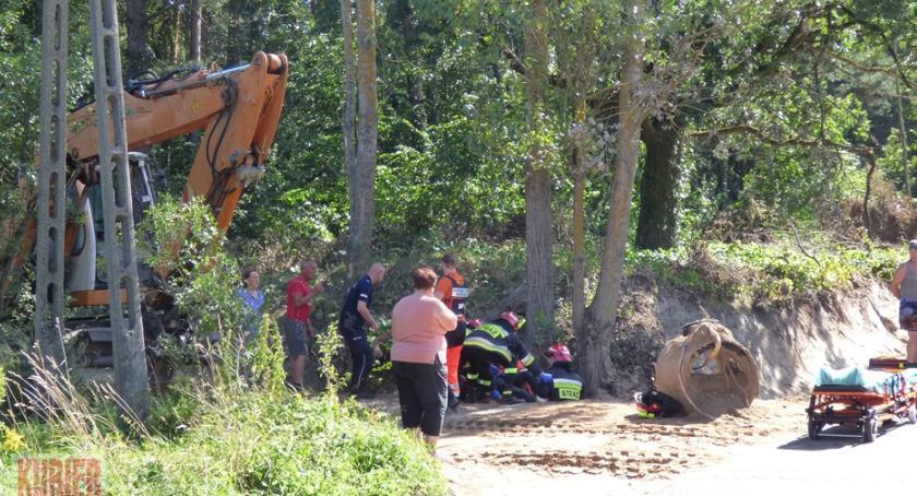 Pożary - straż, Zasypany mężczyzna Zabłociu - zdjęcie, fotografia