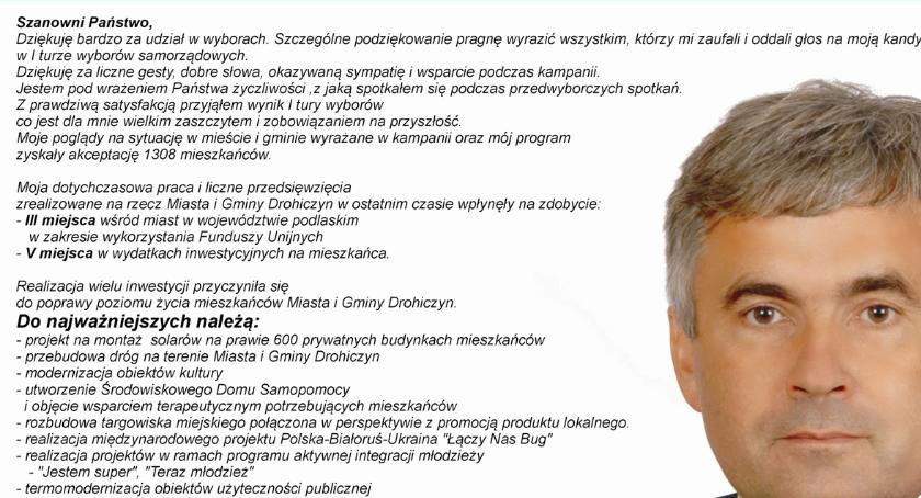 Wybory samorządowe 2018, Wojciech Borzym kandydat burmistrza Drohiczyna reklama wyborcza - zdjęcie, fotografia