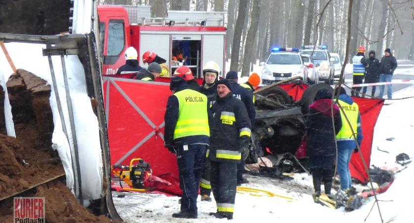 Wypadki drogowe, Tragiczny wypadek koło Bociek - zdjęcie, fotografia