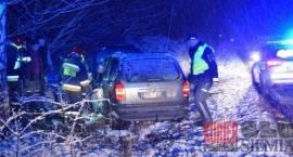 Wypadek na śliskiej drodze Siemiatycze - Krupice