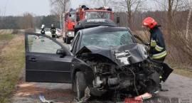 Wypadek - ranny kierowca w szpitalu