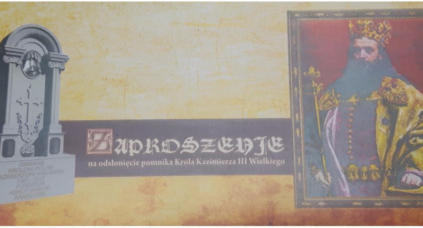 Zaproszenia, Odsłonięcie pomnika Króla Kazimierza Wielkiego Strachówce - zdjęcie, fotografia