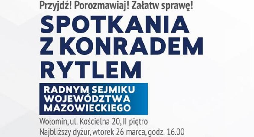 Zaproszenia, Spotkanie radnym sejmiku Konradem Rytlem Wołominie - zdjęcie, fotografia