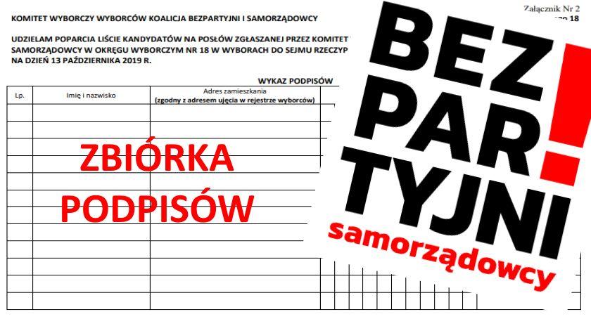 Wybory 2019, Koalicja Bezpartyjni Samorządowcy ruszyła zbiórka podpisów - zdjęcie, fotografia