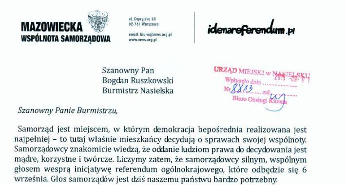 News, referendalny Burmistrza Nasielska - zdjęcie, fotografia