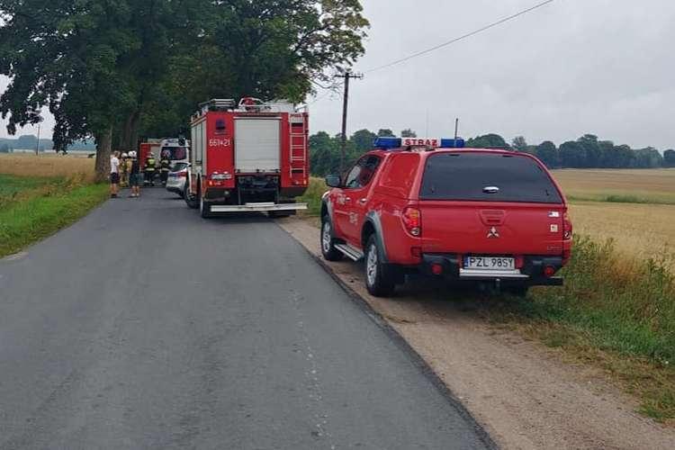 Wypadki drogowe, Zderzenie czołowe przed Wiśniewką [Aktualizacja] - zdjęcie, fotografia