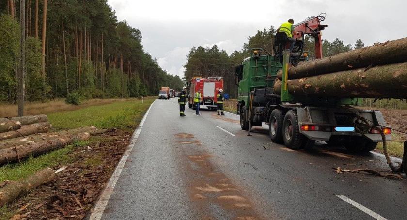Wypadki drogowe, Ciężarówka rowie drodze krajowej - zdjęcie, fotografia