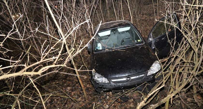 Wypadki drogowe, Uderzył autem lampę ogrodzenie - zdjęcie, fotografia