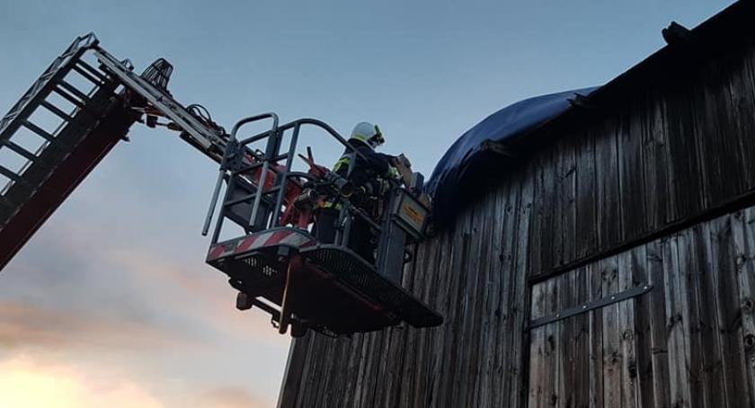 Straż pożarna, Strażacy usuwali skutki silnego wiatru Czernicach - zdjęcie, fotografia