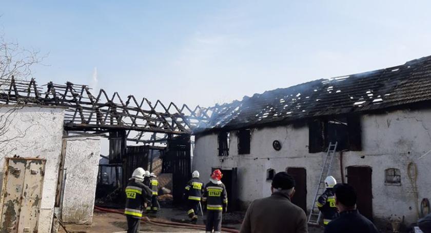 Straż pożarna, Spłonęła stodoła Przed ogniem udało uratować zwierzęta - zdjęcie, fotografia