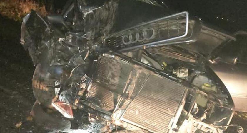 Wypadki drogowe, Uderzył autem drzewo - zdjęcie, fotografia