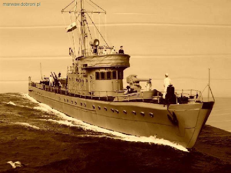 Modele okrętów, Minowiec Rybitwa podstaw - zdjęcie, fotografia