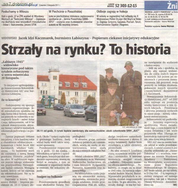 Imprezy historyczne, Łabiszyn listopadzie - zdjęcie, fotografia
