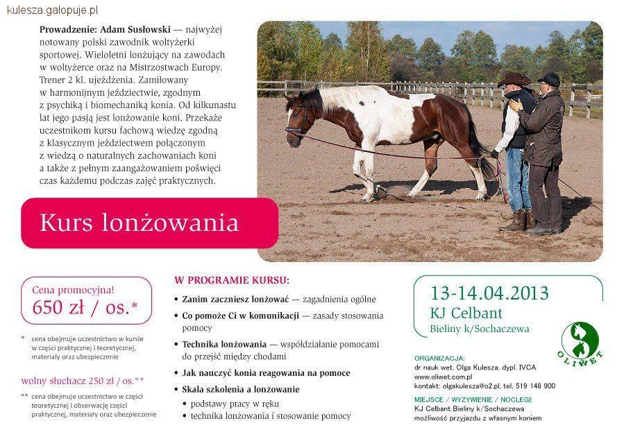Biznes jeździecki, lonżowania Adamem Susłowskim - zdjęcie, fotografia